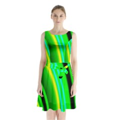 Multi Colorful Radiant Background Sleeveless Chiffon Waist Tie Dress