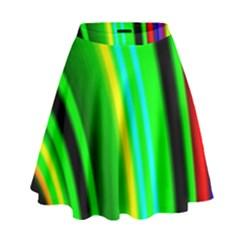 Multi Colorful Radiant Background High Waist Skirt