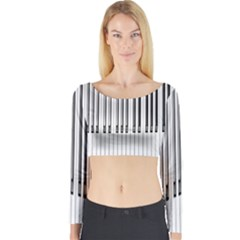 Abstract Piano Keys Background Long Sleeve Crop Top