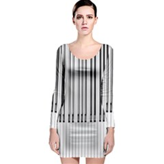 Abstract Piano Keys Background Long Sleeve Bodycon Dress