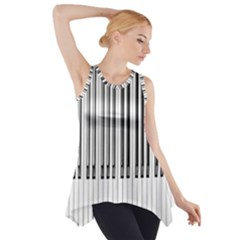 Abstract Piano Keys Background Side Drop Tank Tunic