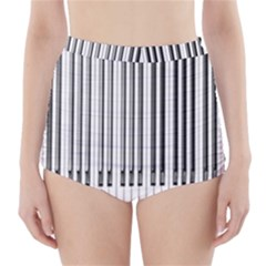 Abstract Piano Keys Background High Waisted Bikini Bottoms