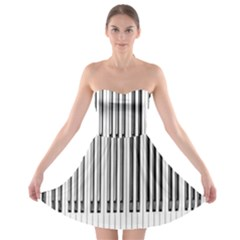 Abstract Piano Keys Background Strapless Bra Top Dress