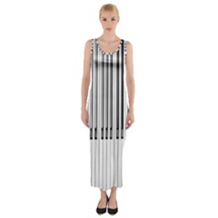 Abstract Piano Keys Background Fitted Maxi Dress