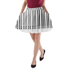 Abstract Piano Keys Background A-Line Pocket Skirt