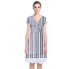 Abstract Piano Keys Background Short Sleeve Front Wrap Dress