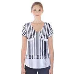 Abstract Piano Keys Background Short Sleeve Front Detail Top