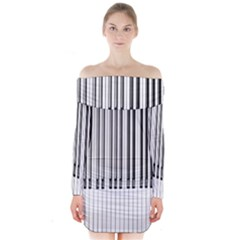 Abstract Piano Keys Background Long Sleeve Off Shoulder Dress