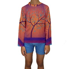Beautiful Tree Background Kids  Long Sleeve Swimwear