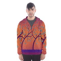 Beautiful Tree Background Hooded Wind Breaker (Men)
