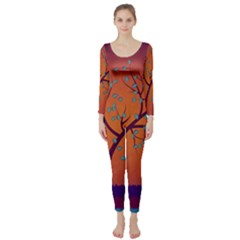 Beautiful Tree Background Long Sleeve Catsuit