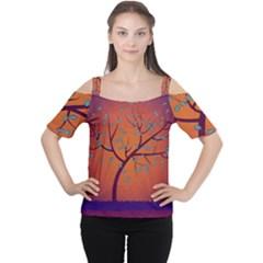 Beautiful Tree Background Women s Cutout Shoulder Tee