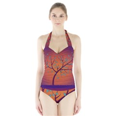 Beautiful Tree Background Halter Swimsuit