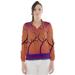 Beautiful Tree Background Wind Breaker (women)