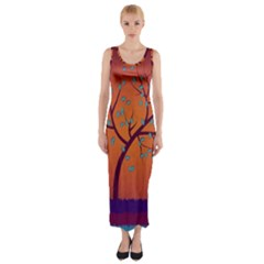 Beautiful Tree Background Fitted Maxi Dress