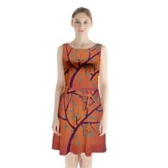 Beautiful Tree Background Sleeveless Chiffon Waist Tie Dress