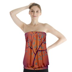 Beautiful Tree Background Strapless Top