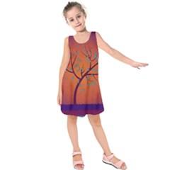 Beautiful Tree Background Kids  Sleeveless Dress