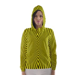 Sunburst Pattern Radial Background Hooded Wind Breaker (women)