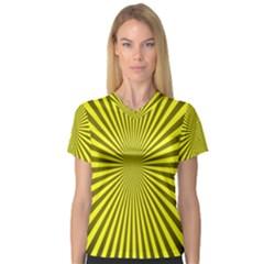 Sunburst Pattern Radial Background Women s V-Neck Sport Mesh Tee