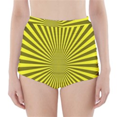 Sunburst Pattern Radial Background High Waisted Bikini Bottoms