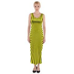 Sunburst Pattern Radial Background Fitted Maxi Dress