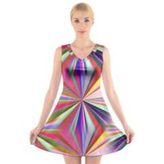 Star A Completely Seamless Tile Able Design V Neck Sleeveless Skater Dress