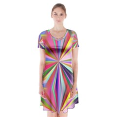 Star A Completely Seamless Tile Able Design Short Sleeve V-neck Flare Dress