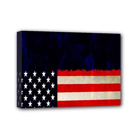 Grunge American Flag Background Mini Canvas 7  x 5