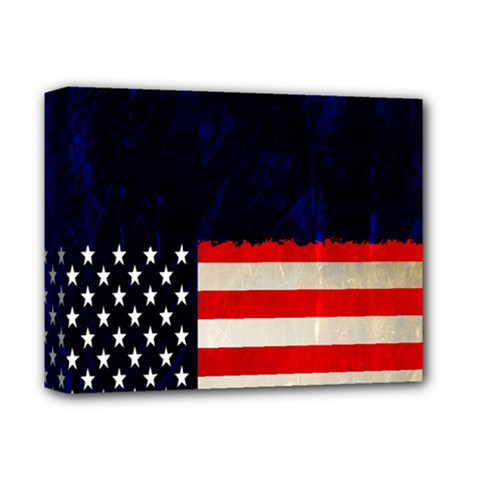 Grunge American Flag Background Deluxe Canvas 14  x 11