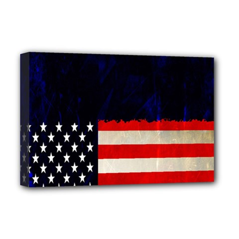 Grunge American Flag Background Deluxe Canvas 18  x 12