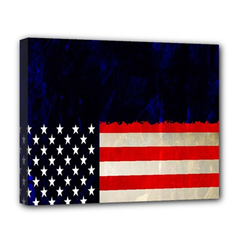 Grunge American Flag Background Deluxe Canvas 20  x 16