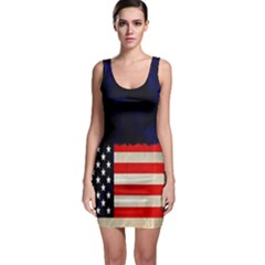 Grunge American Flag Background Sleeveless Bodycon Dress