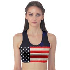 Grunge American Flag Background Sports Bra