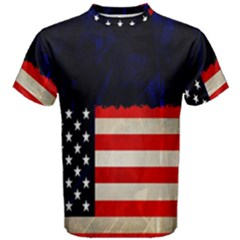 Grunge American Flag Background Men s Cotton Tee