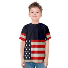 Grunge American Flag Background Kids  Cotton Tee