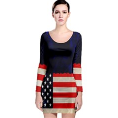 Grunge American Flag Background Long Sleeve Bodycon Dress