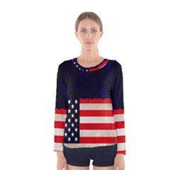 Grunge American Flag Background Women s Long Sleeve Tee