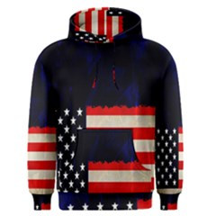 Grunge American Flag Background Men s Pullover Hoodie