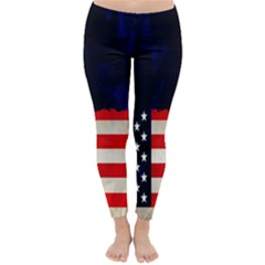 Grunge American Flag Background Classic Winter Leggings