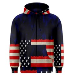 Grunge American Flag Background Men s Zipper Hoodie