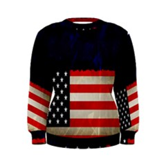 Grunge American Flag Background Women s Sweatshirt