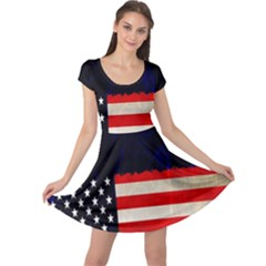 Grunge American Flag Background Cap Sleeve Dresses