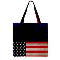 Grunge American Flag Background Zipper Grocery Tote Bag