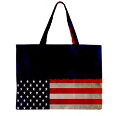 Grunge American Flag Background Zipper Mini Tote Bag