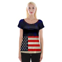 Grunge American Flag Background Women s Cap Sleeve Top