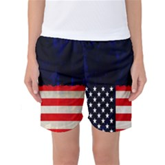 Grunge American Flag Background Women s Basketball Shorts