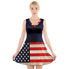 Grunge American Flag Background V-Neck Sleeveless Skater Dress