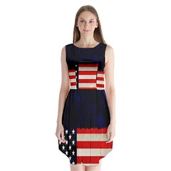 Grunge American Flag Background Sleeveless Chiffon Dress