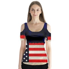 Grunge American Flag Background Butterfly Sleeve Cutout Tee